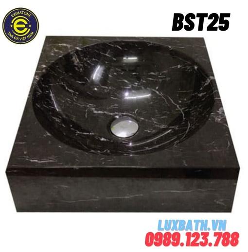 Chậu đá tự nhiên dương bàn đá hình vuông màu đen Eximstone BST25