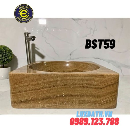 Chậu bàn đá tự nhiên vuông màu vàng vân gỗ Eximstone BST59