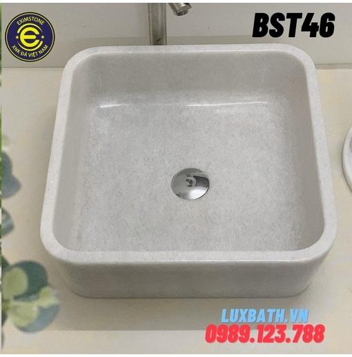 Chậu rửa lavabo vuông mỏng màu trắng Eximstone BST46