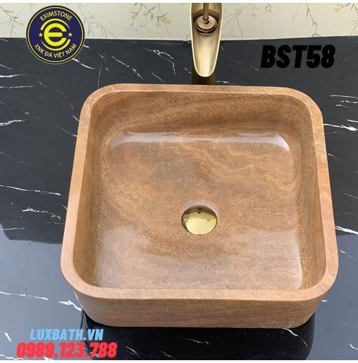 Chậu đá tự nhiên dương bàn đá hình vuông vàng vân gỗ Eximstone BST58