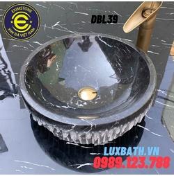 Chậu rửa lavabo bóc lồi màu đen Eximstone DBL39
