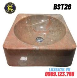 Chậu rửa lavabo vuông màu hồng Eximstone BST26