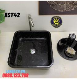Chậu rửa lavabo vuông mỏng màu đen Eximstone BST42