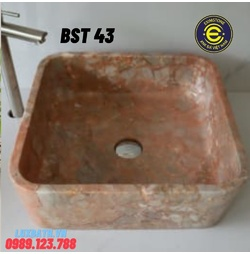 Chậu rửa lavabo vuông mỏng màu hồng Eximstone BST43