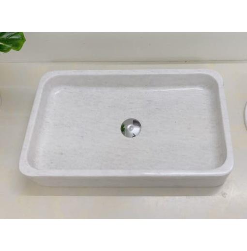 Chậu rửa lavabo chữ nhật mỏng trắng Eximstone BST57A
