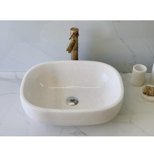 Chậu rửa lavabo bầu dục màu trắng Eximstone BST66