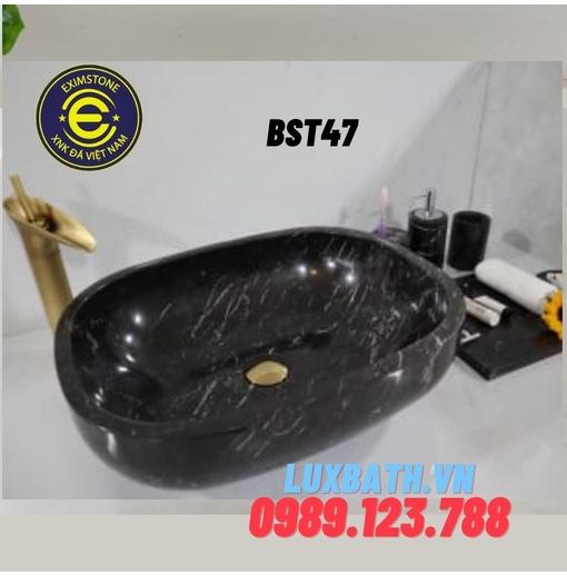 Chậu đá tự nhiên hình bầu dục màu đen Eximstone BST47