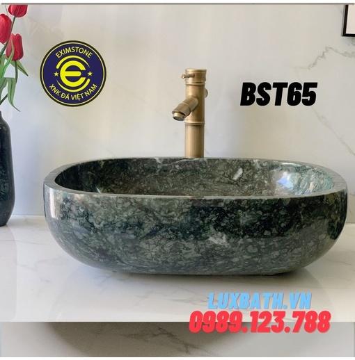 Lavabo dương bàn đá hình bầu dục màu xanh ấn độ Eximstone BST65