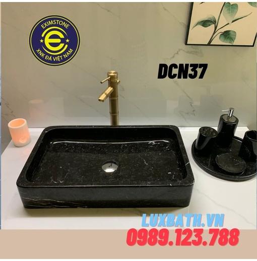 Chậu rửa mặt đá tự nhiên hình chữ nhật màu đen Eximstone DCN37