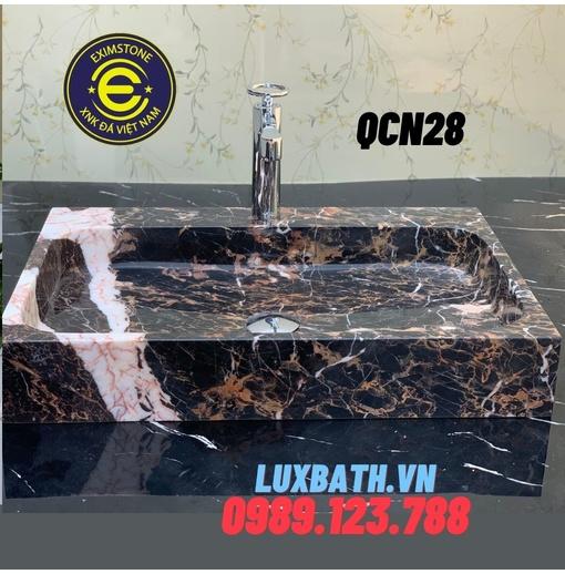 Chậu rửa mặt đá tự nhiên chữ nhật màu nâu QS Eximstone QCN28