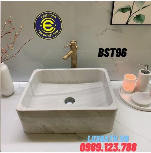 Chậu đá tự nhiên dương bàn đá hình chữ nhật màu trắng sữa NA Eximstone BST96