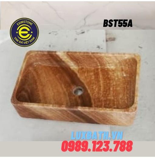 Lavabo đá tự nhiên dương bàn đá hình chữ nhật mỏng vàng vân gỗ Eximstone BST55A