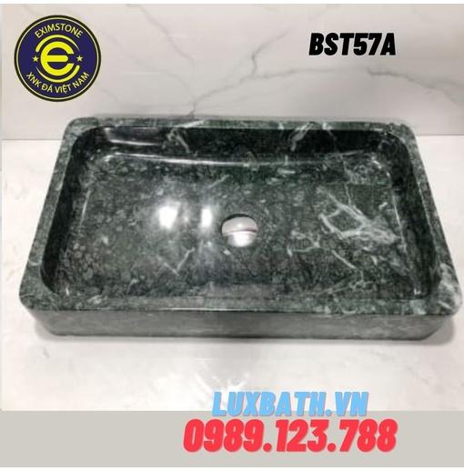Chậu rửa lavabo chữ nhật mỏng xanh ấn độ Eximstone BST60A