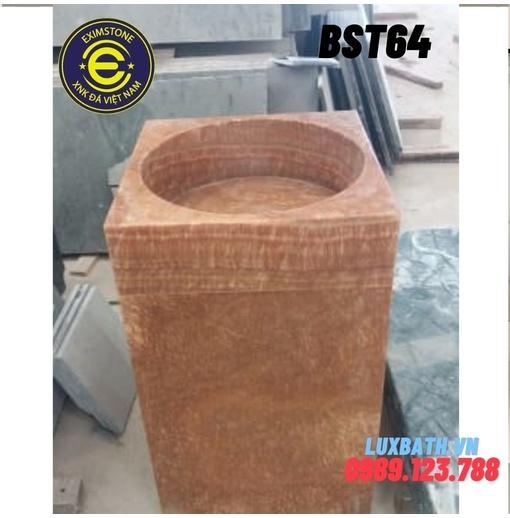 Chậu rửa lavabo vuông đứng màu vàng vân gỗ Eximstone BST64