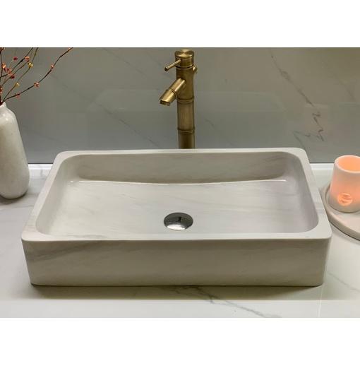 Chậu rửa lavabo chữ nhật màu trắng sữa NA Eximstone SCN97