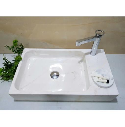 Chậu rửa lavabo chữ nhật màu trắng Eximstone TCN27
