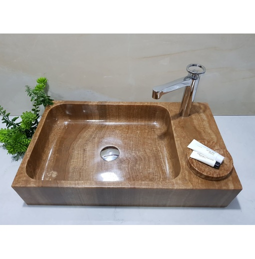 Chậu rửa lavabo chữ nhật màu vàng vân gỗ Eximstone VCN57
