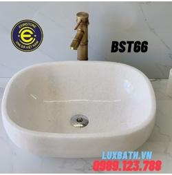 Chậu lavabo đá tự nhiên dương bàn đá hình bầu dục màu trắng Eximstone BST66