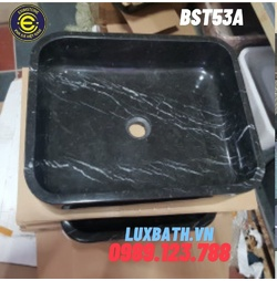 Chậu rửa lavabo chữ nhật màu đen Eximstone BST53A