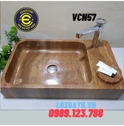 Lavabo rửa mặt đá tự nhiên dương bàn đá hình chữ nhật màu vàng vân gỗ Eximstone VCN57