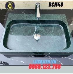 Chậu rửa lavabo chữ nhật màu xanh ấn Eximstone BCN48