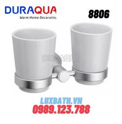 Kệ cốc đánh răng đôi mạ bạc Duraqua 8806