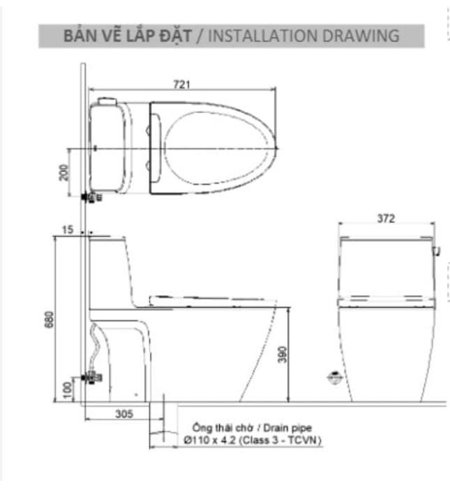 Bồn Cầu 1 khối INAX AC-912VN