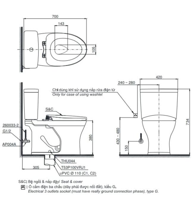 Bồn cầu 2 khối kèm nắp rửa điện tử TOTO CS735DW11