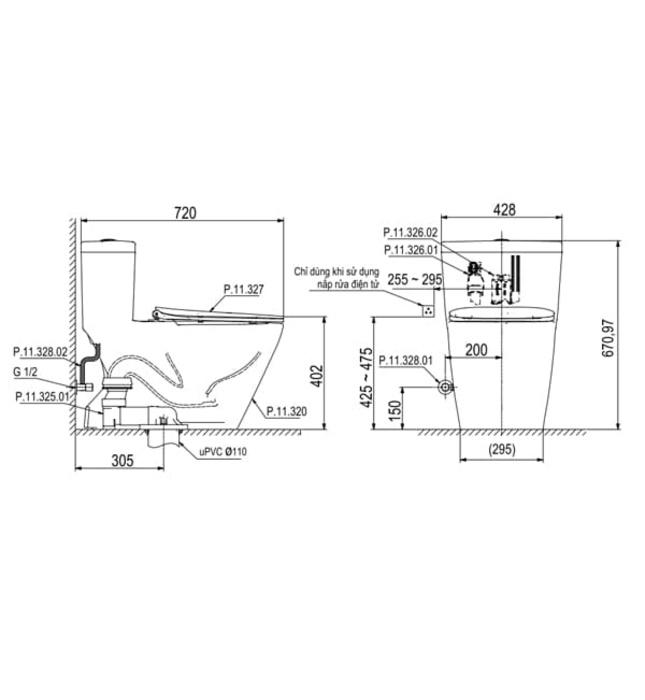 Bồn cầu 1 khối Platinum P.11.350