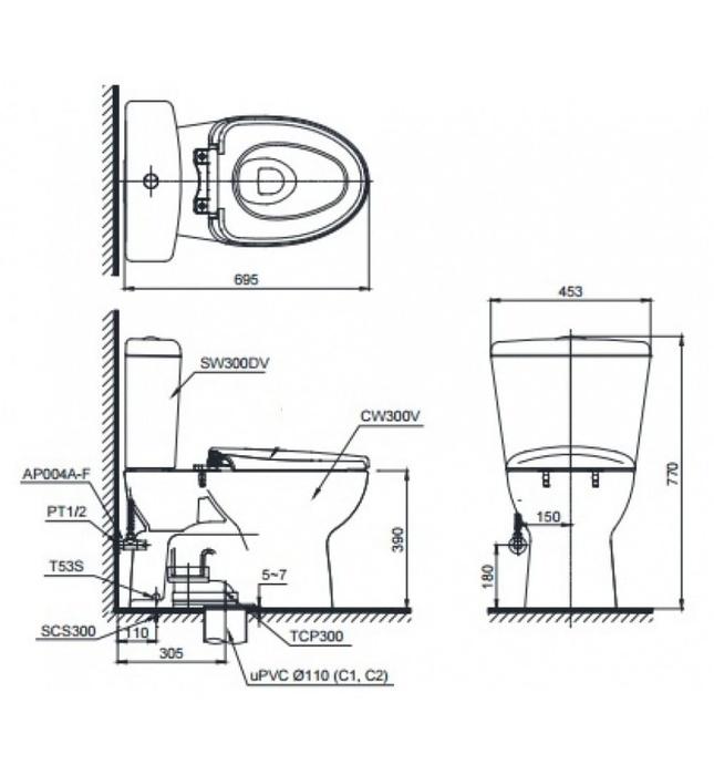 Bồn Cầu Điện Tử TOTO CS300DRW7 Nắp Rửa Washlet