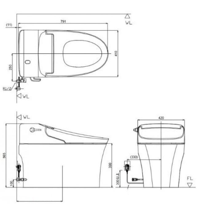 Bồn Cầu Điện Tử American Standard WP-5017 Aerozen G2