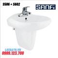 Chậu rửa mặt treo tường chân lửng Sanfi S506 + S602