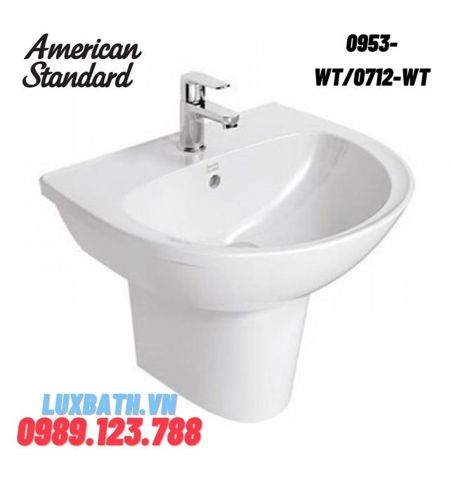 Chậu rửa mặt treo tường chân lửng AMERICAN STANDARD 0953-WT/0712-WT
