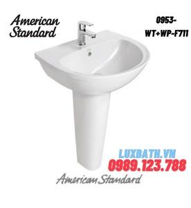 Chậu rửa mặt treo tường chân dài AMERICAN STANDARD 0953-WT+WP-F711