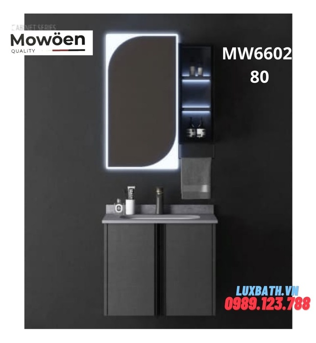 Bộ tủ chậu cao cấp đèn Led Mowoen MW6602-80