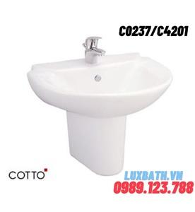 Chậu rửa Lavabo COTTO C0237/C4201 chân ngắn