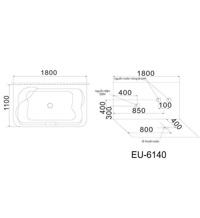 Bồn tắm MASSAGE Euroking EU–6140