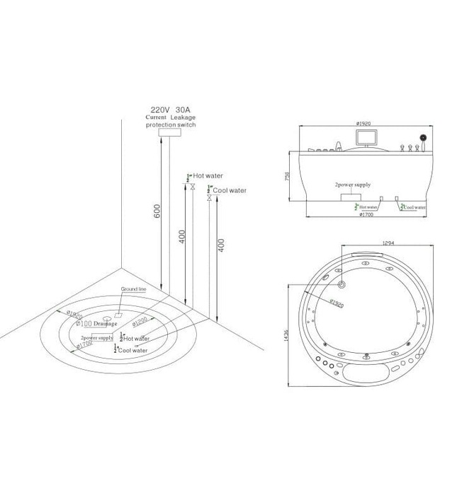 Bồn tắm MASSAGE NOFER NG–3190D