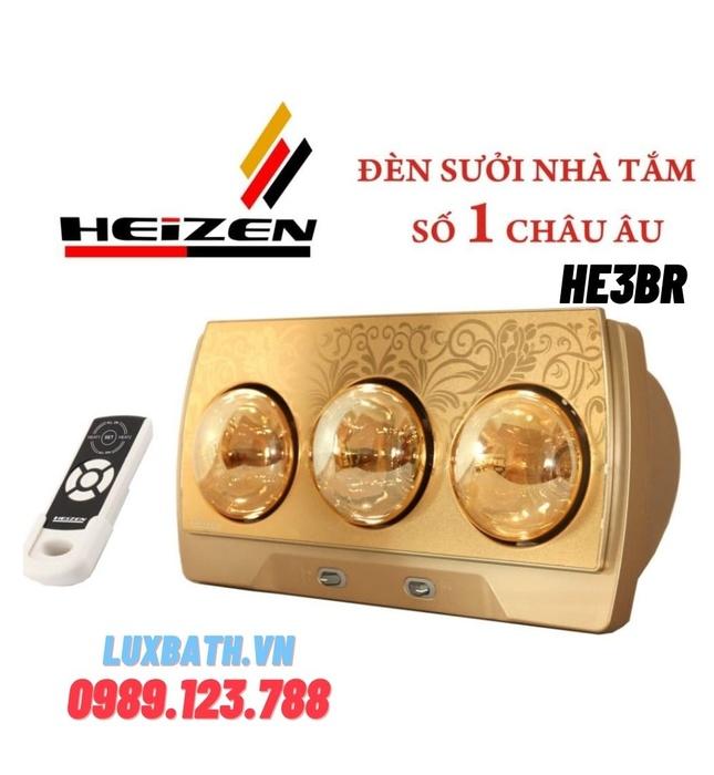 Đèn sưởi 3 bóng treo tường có điều khiển Heizen-HE3BR