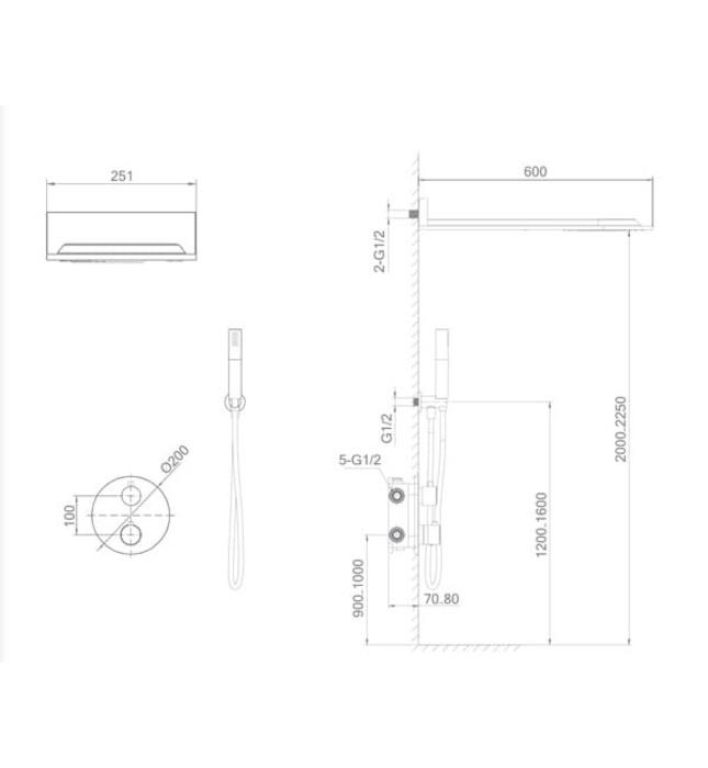 Sen tắm âm tường Nofer NO-1460900