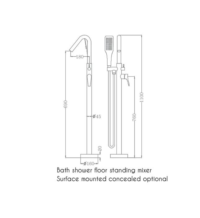 Sen tắm gắn bồn Nofer NO-51011-1