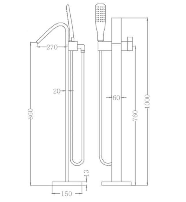 Sen tắm gắn bồn Nofer NO-61001