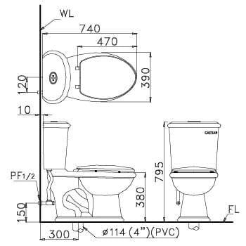 Bản vẽ kỹ thuật bồn cầu 2 khối Caesar CD1331