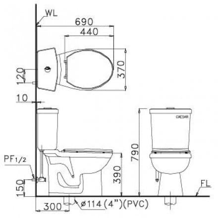 bản vẽ Bồn Cầu Xổm Caesar CS1230