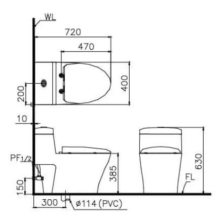Bản vẽ kỹ thuật Bồn cầu 1 khối nắp rửa cơ Caesar CD1356/TAF050