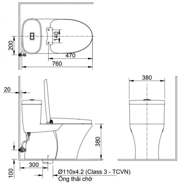 bản vẽ kỹ thuật Bàn cầu 1 khối nắp êm kháng khuẩn Inax AC-959VAN