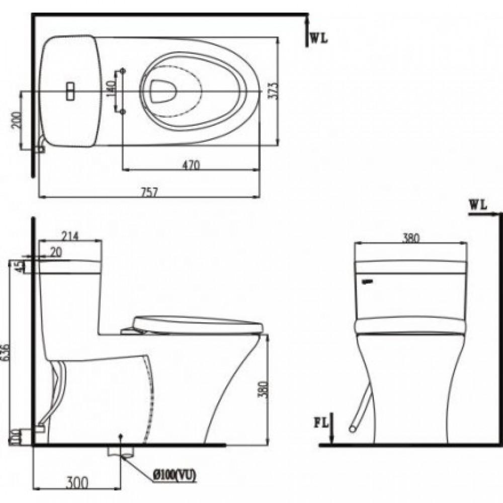 bản vẽ kỹ thuật Bàn cầu 1 khối nắp rơi êm Inax AC-900VRN