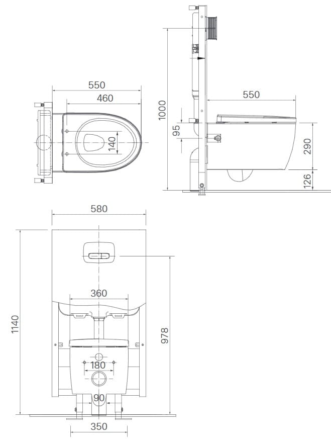 Bản vẽ kỹ thuật Bàn cầu 1 khối xả treo tường INAX AC-952VN