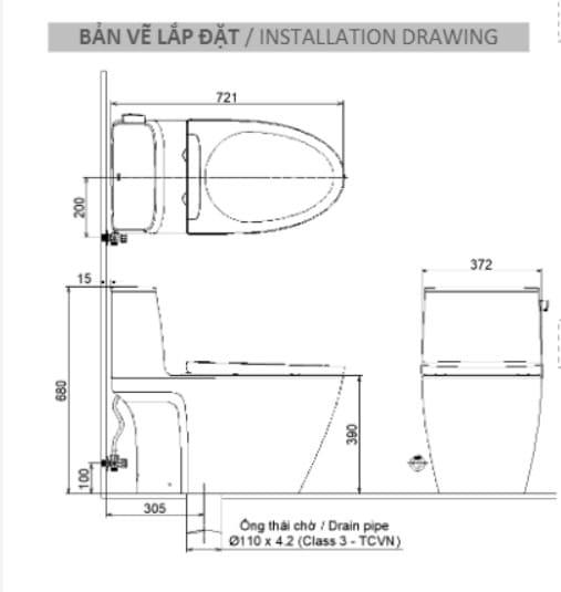 bản vẽ Bồn Cầu Hai Khối Inax AC-504VAN